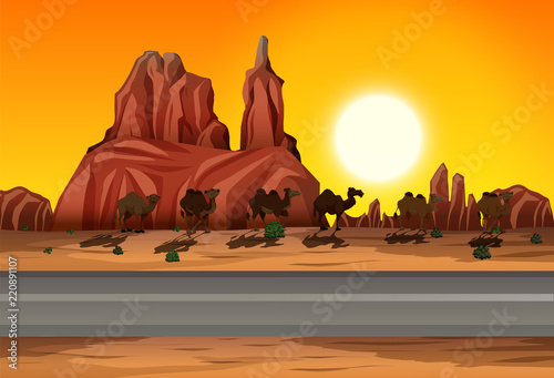 Desert sunset road scene