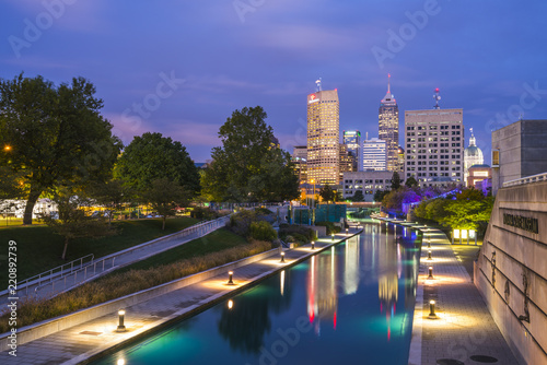 indianapolis,indiana,usa-09-13-17, beautiful indiannapolis skyline with reflection on water.