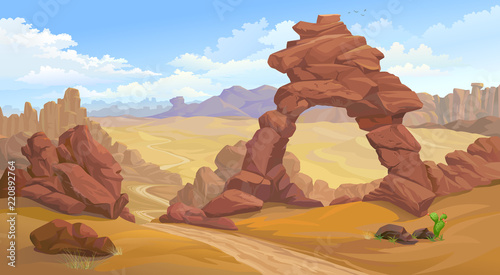 A natural arc formation in the middle of a desert. A road passing towards canyon.