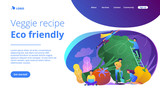 People taking care of vegetables. Veggie recipe, eco friendly landing page. Vegetarianism, vegetarian diet, meat abstaining, healthy lifestyle, violet palette. Vector illustration on background. - 220893329