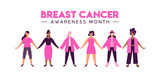Breast Cancer Awareness diverse girl friend group - 220896136