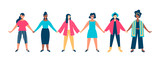 Diverse woman group holding hands together concept - 220896145
