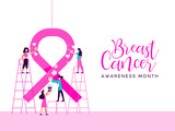 Breast Cancer Awareness girl charity team concept - 220896150