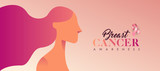 Breast Cancer pink woman banner for support - 220896160