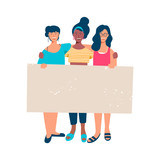 Woman group holding empty blank banner for text - 220896168