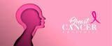 Breast Cancer Awareness cutout woman face banner - 220896186