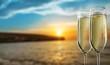 Leinwanddruck Bild - Two glasses of champagne isolated on white background