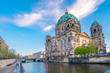 Blue nice sky with view of Berlin Cathedral in Berlin, Germany