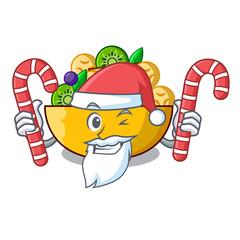 Santa with candy dessert of fruits salad on cartoon