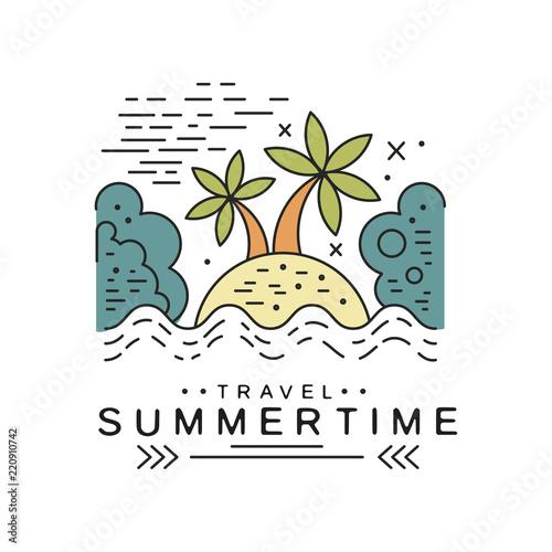 Travel summertime logo design, summer vacation emblem, design