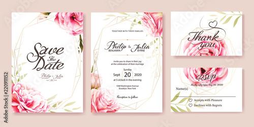 Zaproszenie na ślub, zapisać datę, dziękuję, szablon karty rsvp Szablon projektu. Wektor. Różowa róża, liście oliwki. Styl akwareli.