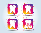 Dental care icons. Caries tooth sign. Tooth endosseous implant symbol. Colour gradient square buttons. Flat design concept. Vector - 220929564