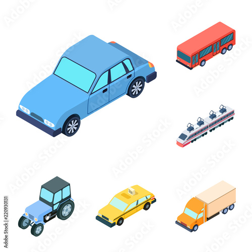 Wall mural Different types of transport cartoon icons in set collection for design. Car and ship isometric vector symbol stock web illustration.