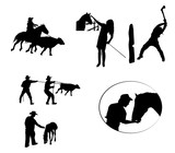 cowboys working silhouette set - 220930372