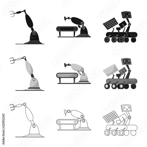 Isolated Object Of Robot And Factory Icon Collection Of Robot And