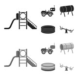 Machine for radio control, tunnel, trampoline, swing. Playground set collection icons in black,monochrome style vector symbol stock illustration web. - 220935930