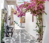 Narrow street with white houses, Greece - 220935946