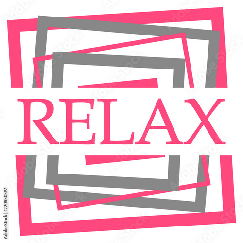 Relax Pink Grey Squares Border  - 220950597