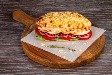 Flatbread with chicken breast