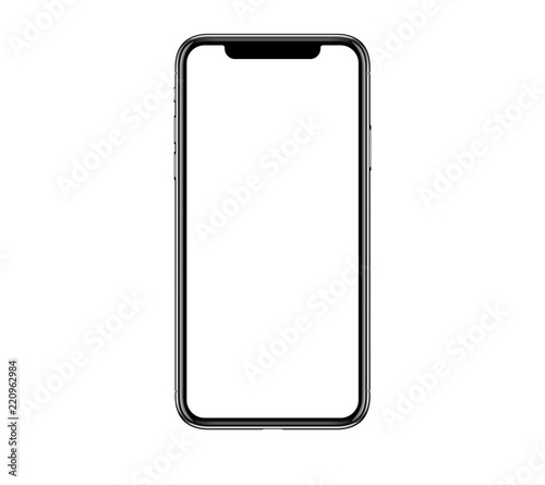 Leinwandbild Motiv New realistic mobile phone smartphone mockup with blank screen isolated on white background