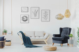 Graphics above a wooden couch with pillows, armchair and swing with a plant in a creative living room interior. Real photo - 220969186