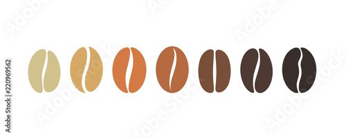 Wall mural Coffee bean set. Isolated coffe beans on white background