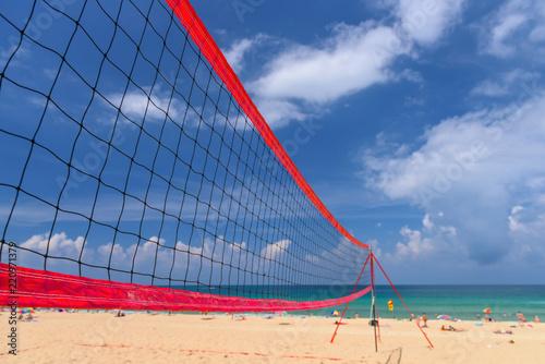 Fototapeta Volleyball net on the tropical beach