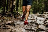wet feet runner athlete running on trail stones in forest - 220973396