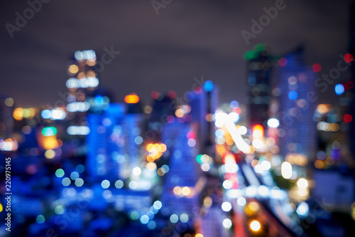 Leinwanddruck Bild abstract blur night light bokeh from cityscape buildings