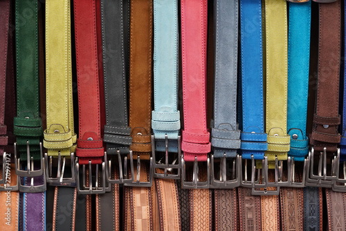 Leinwanddruck Bild leather belts in italian market for sale