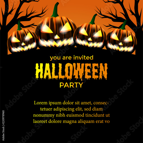 Halloween Party Invitation Template Scary Face Pumpkins With Orange Background