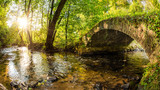 Old bridge over a creek in the forest with bright sun in the background - 220985117