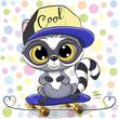 Cute Cartoon Raccoon with a skateboard