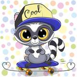 Cute Cartoon Raccoon with a skateboard - 220985395