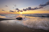 Romantic sunset over the sea beach, baltic sea, Poland - 220987117