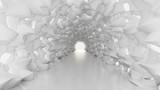 Fototapeta Do przedpokoju - White tunnel and light. 3d illustration, 3d rendering. © Pierell