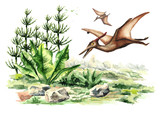Pterodactyl dinosaur  in prehistorical landscape. Watercolor hand drawn illustration  isolated on white background