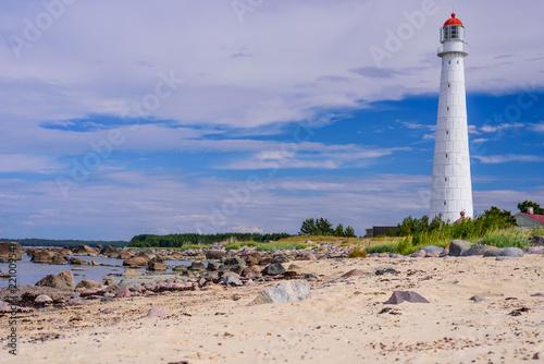 Sightseeing of Hiiumaa island. Tahkuna lighthouse is a popular landmark and scenic location on the Baltic sea coast, Hiiumaa island, Estonia