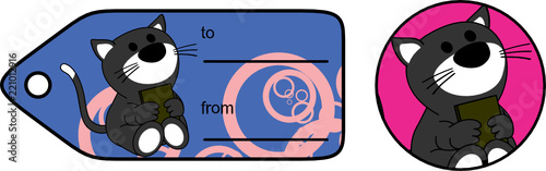 cute baby cat holding book sticker gift card in vector format very easy to edit