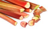 Fresh rhubarb stalks on white background. - 221019100