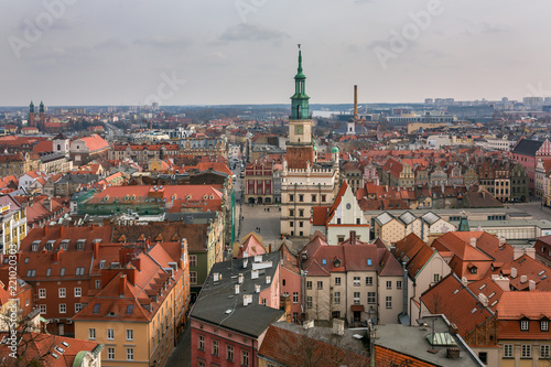 Top view of the old town in Poznan, Poland