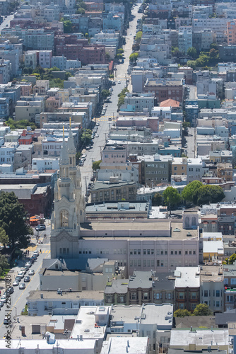 San Francisco, aerial view of Filbert Street and Saints Peter and Paul church
