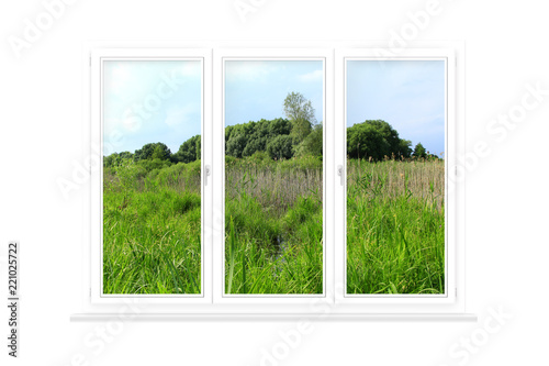Window isolated with view to summer field. Rural view - 221025722