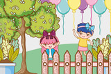 Girl on party cartoons - 221033180