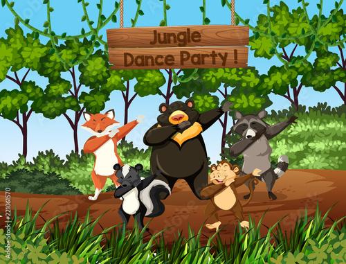 Fototapeta Wild animals dancing in the jungle