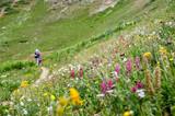 Hikers in a field of wildflowers - 221063168