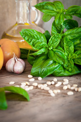 Fresh, green, organic basil on a wooden table. And products for salad: tomatoes, garlic, pine nuts. Photo is made in a rustic style with a blurred background.