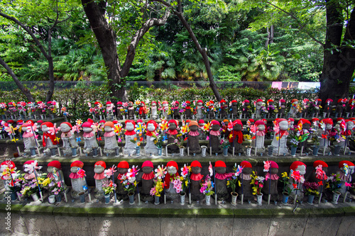 Jizo statues in a Japanese cemetery.