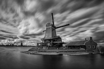 Zaandam, Holland, an old mill nowadays as a historic mill for tourists © janmiko