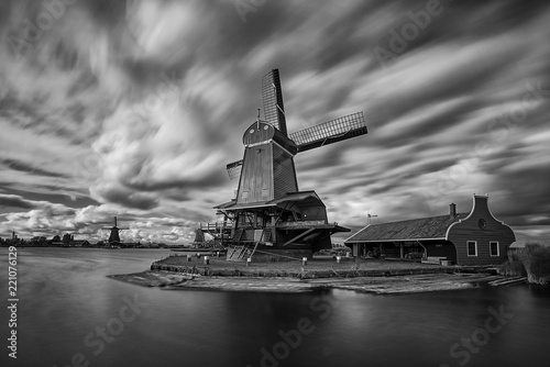 Zaandam, Holland, an old mill nowadays as a historic mill for tourists - 221076129
